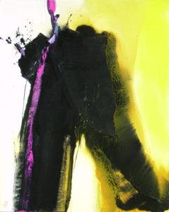 Norbert Pagé Noir et or trace rose 65 x 81 cm 2009
