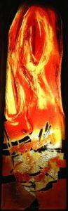 Norbert Pagé Martin évangélise les campagnes en brûlant les temples des faux dieux Vitrail Norbert Pagé Photo Pascal Guichard